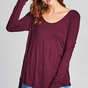 Ladies fashion Long Sleeve Round Neck Strappy Back Rayon Spandex Jersey Top