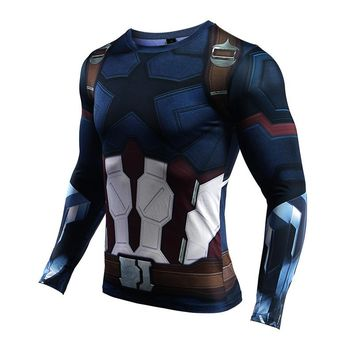 New Compression Shirt Men Captain America Funny T Shirts Men Fitness Bodybuilding Tshirt Avengers 3 Superhero Cosplay Drop-Ship