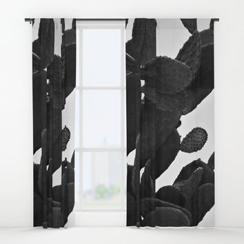 Cactus in Black And White Window Curtains by ARTbyJWP