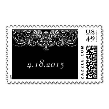 Elegant Victorian Lace Save the Date Stamp
