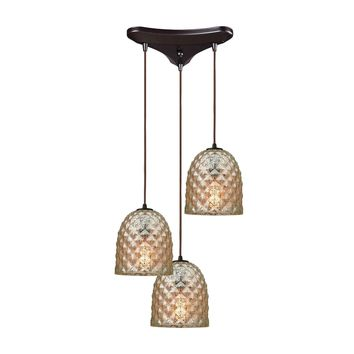 Brimley 3 Light Triangle Pan Fixture In Oil Rubbed Bronze With Raised Diamond Texture Mercury Glass