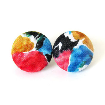 Bright button earrings - colorful fabric earrings - paint stud earrings - statement jewelry - artist gift for girlfriend - blue yellow red