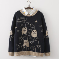 Japanese cartoon animal stars knitting sweater