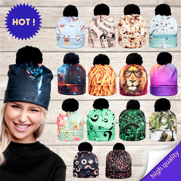 2016 3D Animal Print Women Hats Autumn and Winter Cap Multi Colors Unisex Hat Fashion Lady Hats Ball Pom Skully Beanies PY213