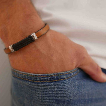 Men's Cuff Bracelet - Men's Leather Bracelet - Men's Bracelet - Men's Jewelry - Men's Gift - Husband Gift - Boyfriend Gift - Present For Men