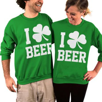 St Patrick's Day, Sweater, I Clover Beer, Beer Sweatshirt, Adult Unisex, Crew Neck, Sweatshirt, Womens Clothing, Mens Clothing, His and hers