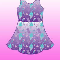 Sugar Pop Novelty Ice Cream Printed Skater Dress Fairy Kei Pastel Goth Kawaii