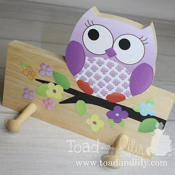 Purple Owls Love Flowers Girls Wooden CLOTHES PEG Rack Bathroom Bedroom 2CR005