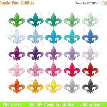 50% OFF SALE Fleur De Lis Clipart, Fleur De Lis Clip Art, Stylized Lily, Rainbow Colors, Planner Icons, PNG, Digital Graphics, Commercial