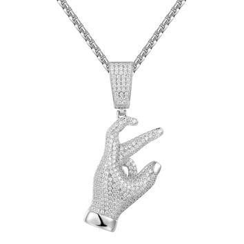 Men's Expression Gang Sign Sterling Silver Pendant Chain