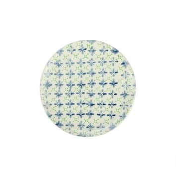 French Countryside Decorative Blue and Green Flower Round Terracotta Dessert Plate 6.5""