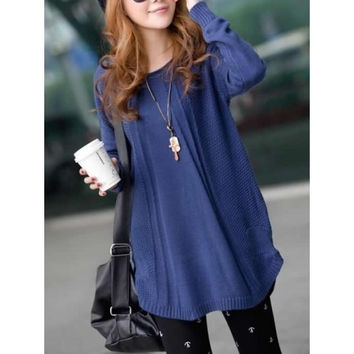 Dark Blue Knitting Womens Long Sleeves Long Style Loose Sweater One Size MM0214dbl = 1920251204