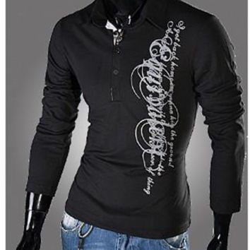 Men's Printed Slim Fit, Turn Down Collar Button V-Neck, Long Sleeved Polo Shirt -3 col