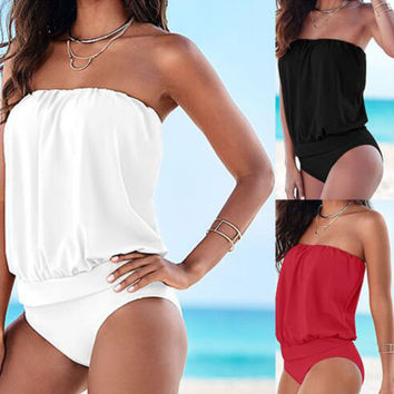 Swimwear Women Swimsuit 2017 Sexy Push Up Tankini Set Vintage Retro High Waisted Bathing Suits Summer Beach Wear Plus Size M-3XL