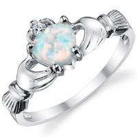 Sterling Silver 925 Irish Claddagh Friendship & Love Ring with Simulated Opal Heart