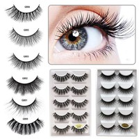 ELECOOL 5 Pairs Eyelash Makeup Kit Professional Lashes Durable Luxury Thick False EyeLash 3D Mink Eyelashes Natural Multi Kind