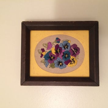 Vintage Embroidered Pansies Framed Art Purple and Blus Flowers on Yellow Background Gifts For Her