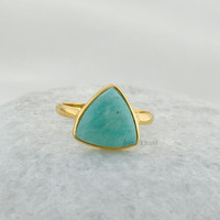Amazonite Beautiful Trillion 10x10 Micron Gold Plated 925 Sterling Silver Ring - #4770