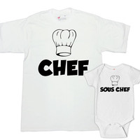 Matching Father And Baby Mommy And Me Clothing New Dad Gifts Mom And Baby Shirts Family Outfits Chef T Shirt Sous Chef Bodysuit - SA720-721
