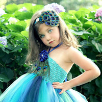 toddler girls peacock tutu dress any size with three large peacock eye feathers and matching feather pad headband