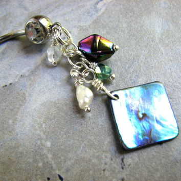 Iridescent Shell Belly Button Ring, Sparkling Crystals, Abalone Pierced Jewelry
