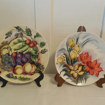 """Ucagco Plates 8 1/2"""", Hand Painted Fruit and Floral Plates, 1 Signed by J. Mace, Both Made in Japan with Foil Stickers, Beautiful Wall Decor"""