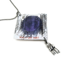 Condom Necklace - Safe Sex - Real Condom Necklace in Wrapper - Mature