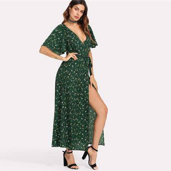 Flower Print Surplice Wrap Maxi Dress Women Ruffle Deep V Neck Butterfly Sleeve Split Dress
