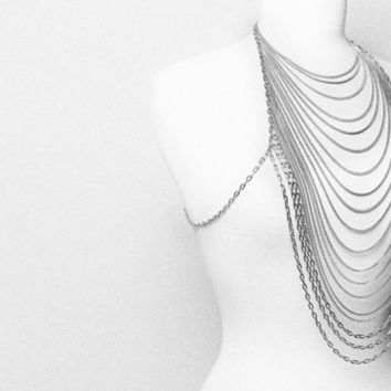 Body chain necklace Front to back long silver tone by vqjewelry