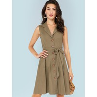 Army Green Notch Collar Self Belted Button Up Dress