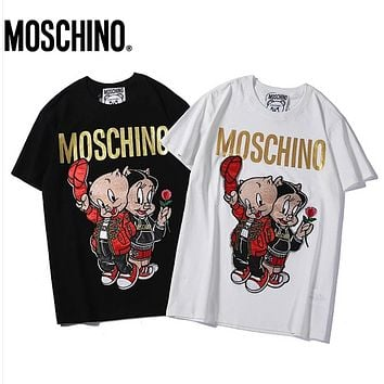 fc27e19a8cc Moschino Fashion New Letter Print Embroidery Pig Women Top T-Shi