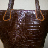 Vintage Cecconi P. Brown Leather Purse Made in Italy Beautiful Alligator Design Leather Purse by Cecconi P.