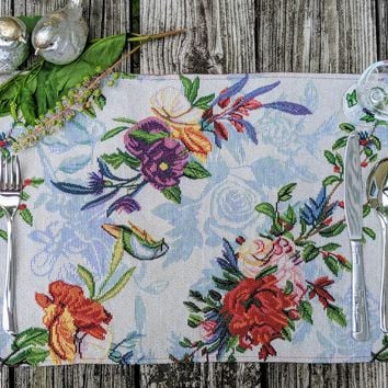 """DaDa Bedding Tropical Paradise Birds Floral Placemats, Set of 4 Tapestry 13"""" x 19"""" (18116)"""