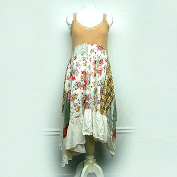 Shabby Chic Dress, Large Mori Girl Dress, Romantic Country Chic, Anthropologie, Free People Style Eco Upcycled Clothing by Primitive Fringe