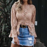 Fashion Mori autumn and winter ladies lace openwork perspective waist shirt top