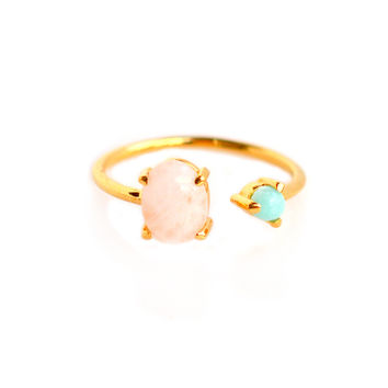 Rose Quartz and Turquoise Dual Ring