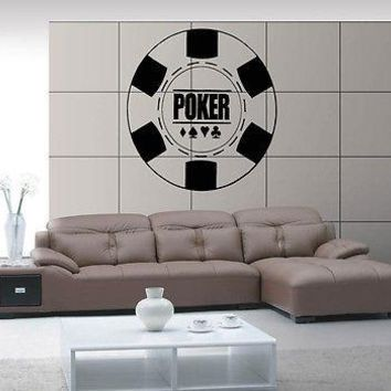 Wall Sticker Vinyl Decal Poker Aces Cards Stack Casino Good Luck Unique Gift z572