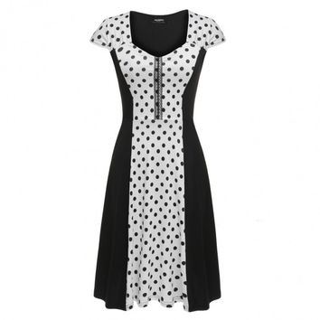 Women Cap Sleeve Dots Flare Fit A-Line Cocktail Party Dress