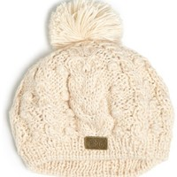 Chaos Women's Alice Acrylic Cable Knit Beanie with Pom