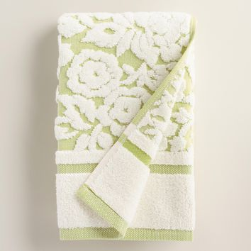 Green Adeline Floral Sculpted Hand Towel