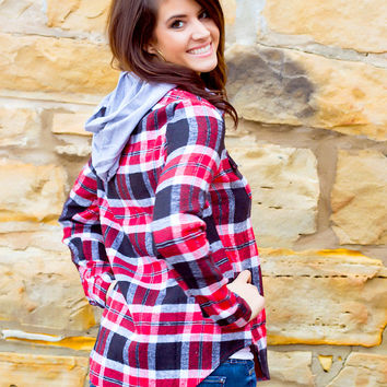Drop The Tailgate Plaid Hooded Flannel // Red & Black