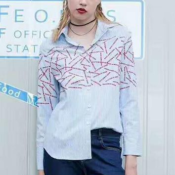 Ports Fashion Sexy Stripe Embroider Long Sleeve Casual T-Shirt G-JGYF