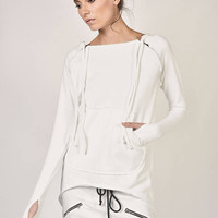 NEW of Off White  Extravagant  Asymmetric Cotton Sweatshirt  / Thumb holes  sexy zipper on shoulders / Front Pocket  by AAKASHA A08310