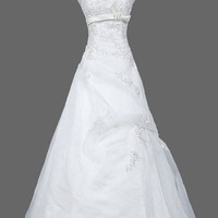 A-line Strapless  Court Train Satin Organza  Wedding Dresses With  Ruffle  Beading