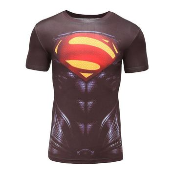 Armour UA Men Brand Fitness T Shirt Mens Marvel Superhero Deadpool Male Quick Dry Supr