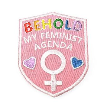 Behold My Feminist Agenda Patch in Pastel Pink and Rainbow