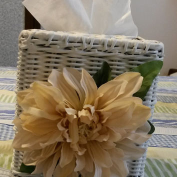 Up-Cycled Cottage Chic Vintage White Wicker Small Tissue Box Cover With Large Tan Flower