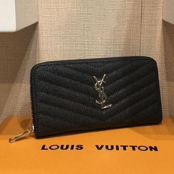 YSL Yves Saint Laurent Women Fashion Leather Zipper Wallet Purse