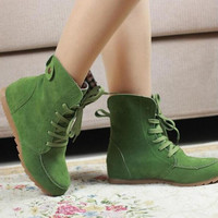 Ladies Boots Round Toe Flat Shoes Martin boots Woman Boots Solid Lace Up Womens Casual Shoes Comfort Autumn Shoes