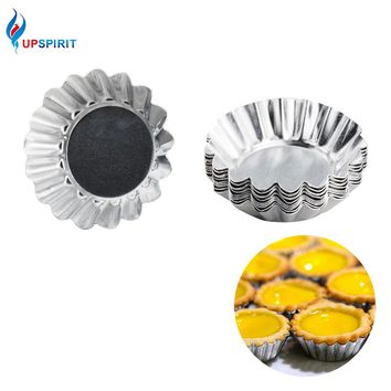 Upspirit 10Pcs/set Silver Aluminum Cupcake Egg Tart Mold Cookie Pudding Mould Makers Kitchen Accessories Baking Pastry Tools